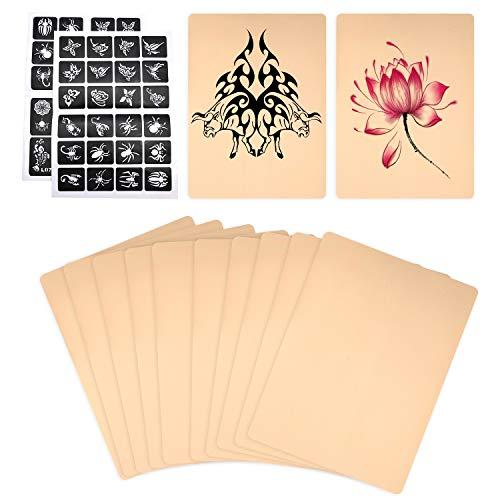 10 Stück Blank Tattoo Praxis Haut,Doppelseitig Haut für Tattoo-Anfänger,mit...