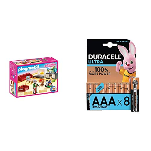 PLAYMOBIL Dollhouse 70207 Gemütliches Wohnzimmer + Duracell Ultra AAA Micro...