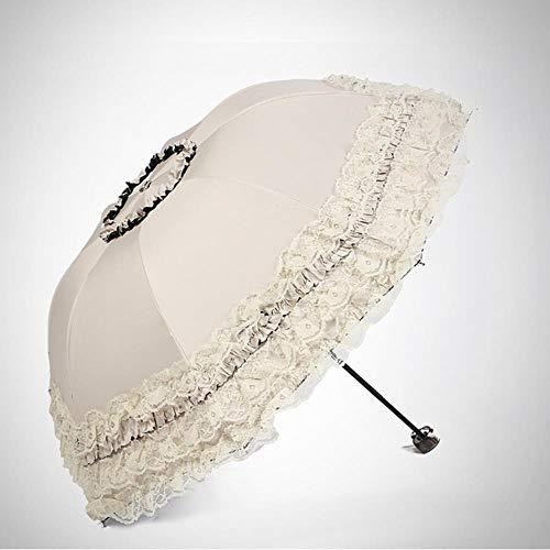 KETONG Spitze-Blumen-Double-Layer-Regenschirme Blaue Spitze Hochzeit Parasol...