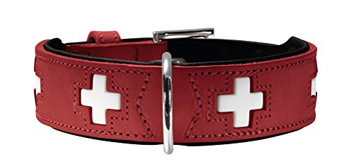 HUNTER SWISS Hundehalsband, Leder, hochwertig, schweizer Kreuz, Rot...