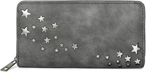 styleBREAKER Damen Portemonnaie mit Metallic Stern Cut-Outs, Reißverschluss,...