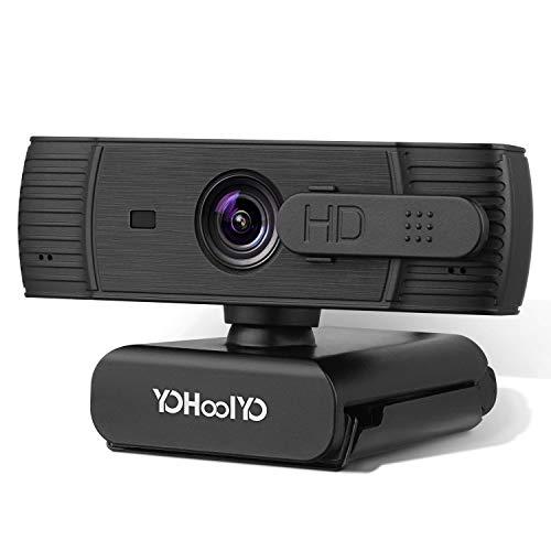 YOHOOLYO Webcam 1080P Autofokus Full HD Kamera mit Abdeckung Zwei Mikrofon...