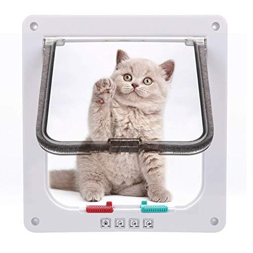 Sailnovo Katzenklappe 4-Way Magnetic Lock hundeklappe Haustiertüre Cat Flap 19...