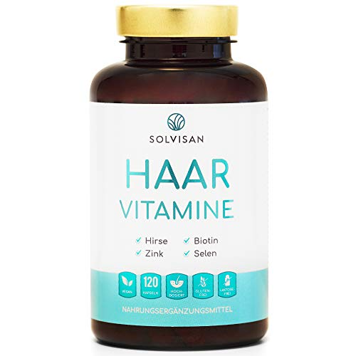SOLVISAN Haar Vitamine mit Biotin, Zink, Selen, Silizium, Hirse - 120...