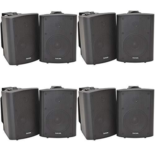 8x (4 Paar) - 90W 2-Wege Schwarz Wand/Regal montiert Stereo Lautsprecher &...