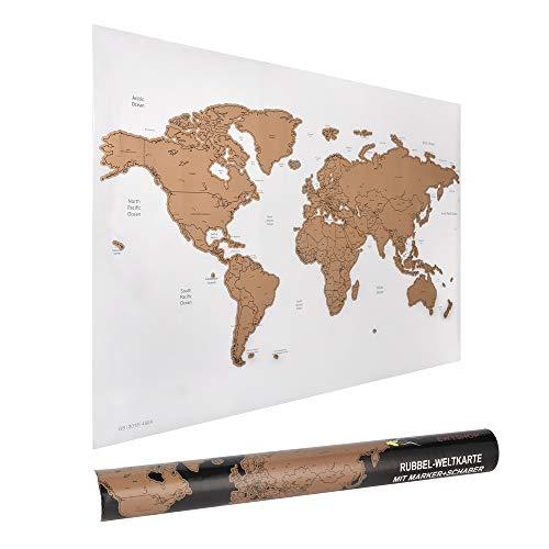 ewtshop® Rubbel-Weltkarte, 60 x 40 cm mit Marker und Schaber, Weltkarte zum...