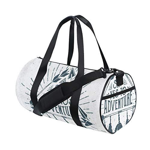 PONIKUCY Sporttasche Reisetasche,Abenteuer Zitat in der Hand gezeichneter...