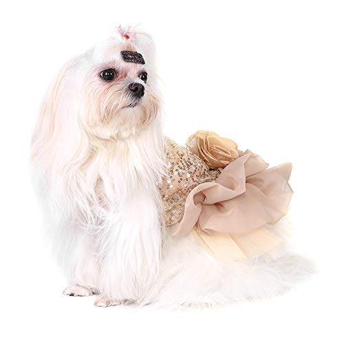 Hundekleid Haustier Kleine Hund Kleidung Pailletten Seidige Tutu Welpen Kostüm...