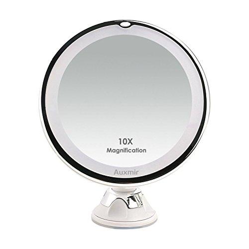 Auxmir Kosmetikspiegel LED Beleuchtet mit 10x Vergrößerung, Saugnapf und 2...