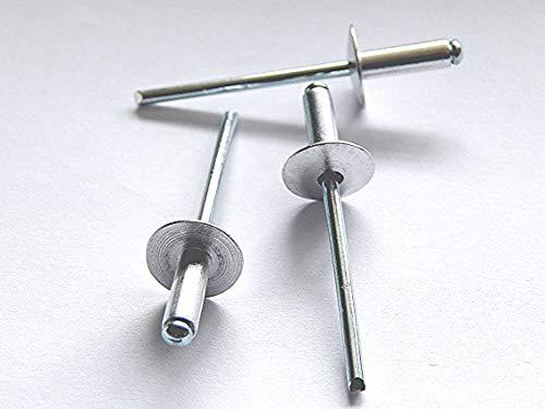 100 Stück Blindnieten Popnieten Alu/Stahl 4,0x12 mm Nieten Großkopf K12