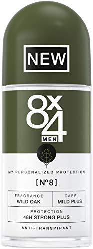 8X4 Men Deo Roll-On N°8 Wild Oak Herren Deodorant, mit erdig-holzigem Duft, 48h...