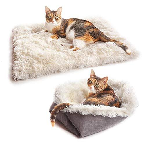 Katzenbett Waschbare Plüsch Weich Runden Winter Katze Schlafen Bett Katzensofa...