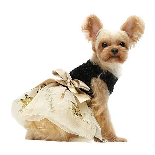 Fitwarm Hundekleid, Bestickt, Pailletten, Tüll, Haustierkleidung, Katze,...