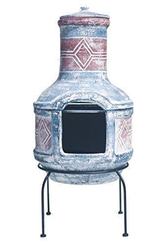 Buschbeck Feuerstelle, Aztekenofen Geo Design, blau/rot, 40 x 40 x 85 cm,...