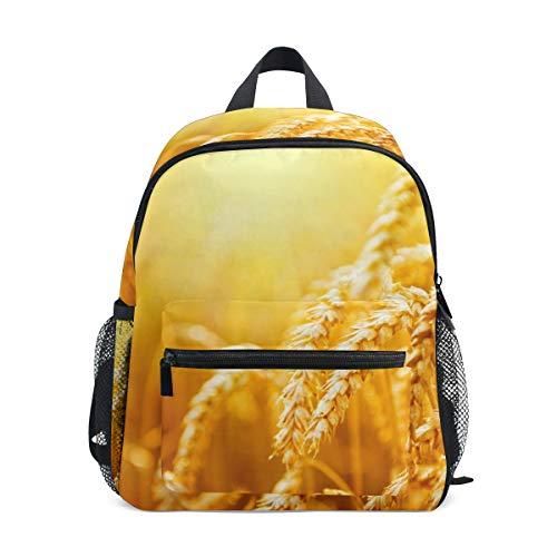 Kleine Schulranzen Herbstfeld gelb gemasert Rucksack für Mädchen Jungen Kinder...