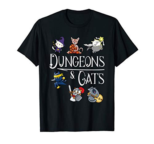 Dungeons and Cats Funny Dragon Cat Kitten Lover Kitty Gift T-Shirt