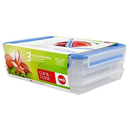 Emsa 508556 Aufschnittbox-System mit Deckel, 1 Liter, Transparent/Blau, Clip &...