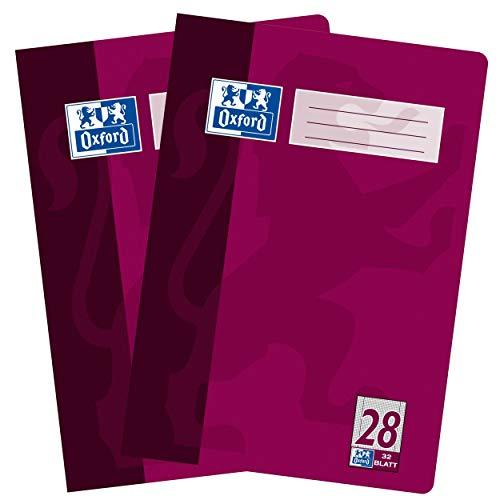 Oxford Hefte, 2er Pack, DIN A4, kariert, 16 Blatt, aubergine