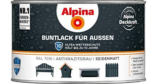 Alpina Buntlack für Außen glänzend anthrazitgrau 0,3 L - 3er Pack