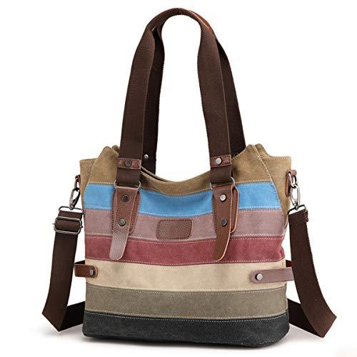 Travistar Damen Handtaschen Multi-Color-Striped Canvas Damen Hobos...