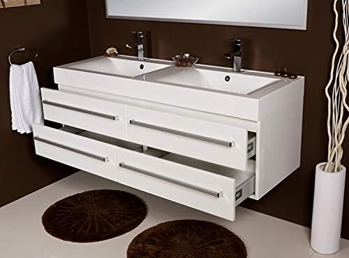 Quentis Doppelwaschplatz Aruva, Breite 140 cm, weiß glänzend, 4 Schubladen,...