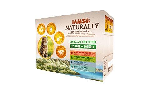 IAMS Naturally Land & Sea Collection in Sauce – Vollwertiges Nassfutter für...