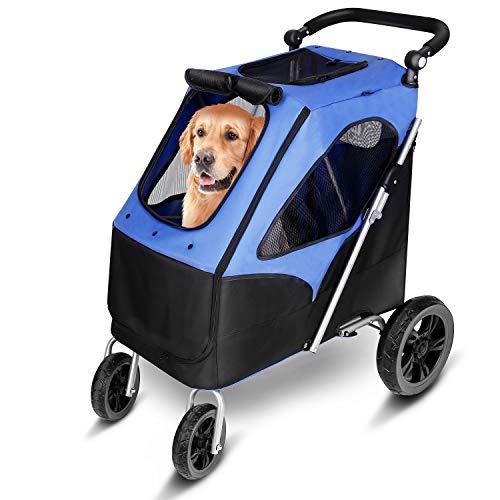 amzdeal Hundewagen, Faltbarer Hundebuggy mit 4 flexiblen Eva-Rädern und...