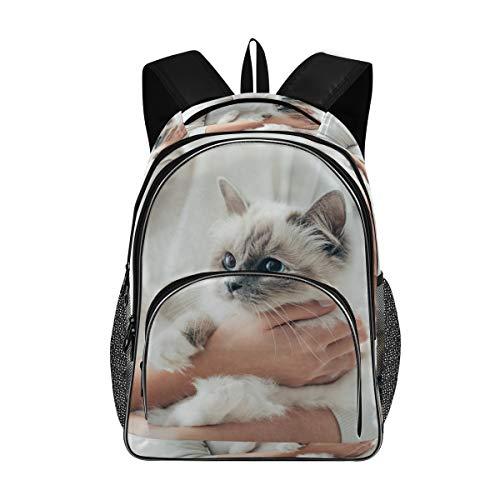 Irud Shcool Rucksack, weiße kleine Katze, langlebige Tasche, Arbeitstasche,...