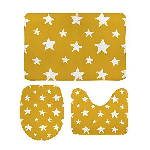 PICKIDS Badezimmerteppich mit Sternen-Motiv, rutschfest, 3-teiliges Bad-Set +...