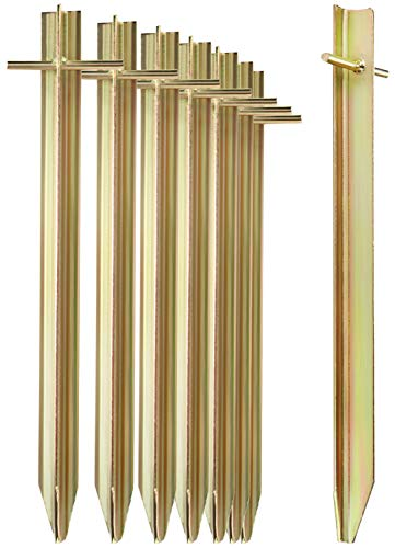 com-four® 8X Zelt-Heringe aus Stahl - Lange und robuste Erdnägel mit T-Profil...