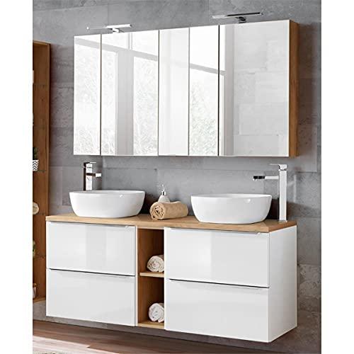 Lomadox Badmöbelset mit 2 Keramik-Aufsatzwaschbecken und 2 Spiegelschränken,...