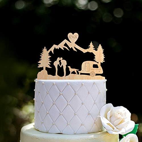 Tortenaufsatz mit Hundeanhänger'Mr & Mrs', Retro, Reiseanhänger, Hochzeit,...
