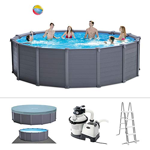 Intex Graphite Gray Panel Pool Set - Panel Wand Aufstellpool - Sehr luxuriös...