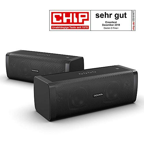 DOCKIN D Fine+ 50 Watt Stereo Hi-Fi Bluetooth Speaker - Lautsprecher 2er Set...