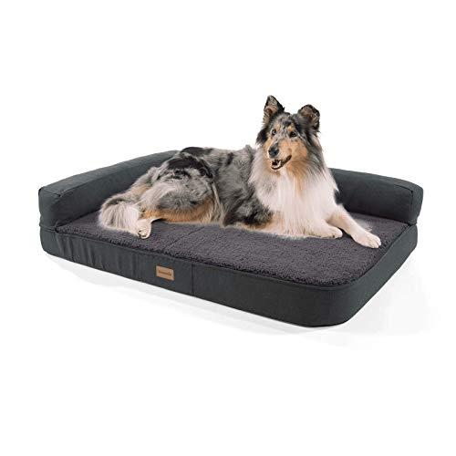 brunolie Odin großes Hundesofa in Dunkelgrau, waschbar, orthopädisch und...