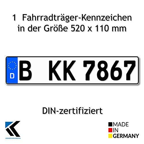 Antmas 1 Fahrradträger Kennzeichen DIN-zertfiziert für Deutschland (520x110...
