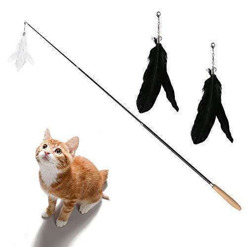 DADYPET Katzenspielzeug, Federangel Katze, Federspielzeug für Katzen, Angel mit...