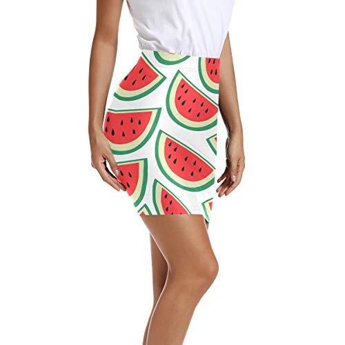 Montoj Damen Bleistiftrock, hohe Taille, figurbetont, Sommer, Wassermelone Gr....