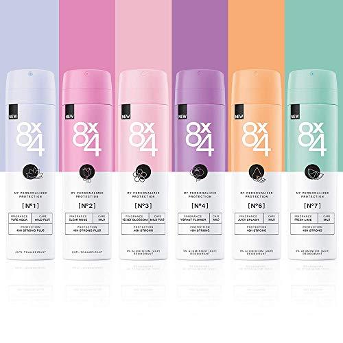 8X4 Deo Spray Testerset im 6er Pack (6 x 150ml), Damen Deodorant und...