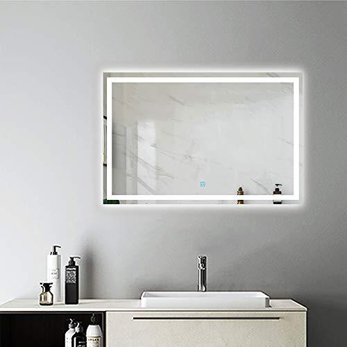 AicaSanitär Badspiegel mit Beleuchtung 80×60 cm Touch, BESCHLAGFREI, Sonne...