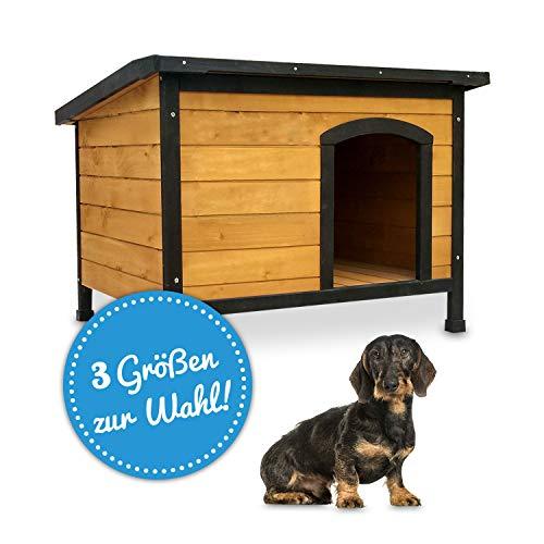 zooprinz wetterfeste Hundehütte Rex - aus massivem Holz und Dach zum Öffnen -...