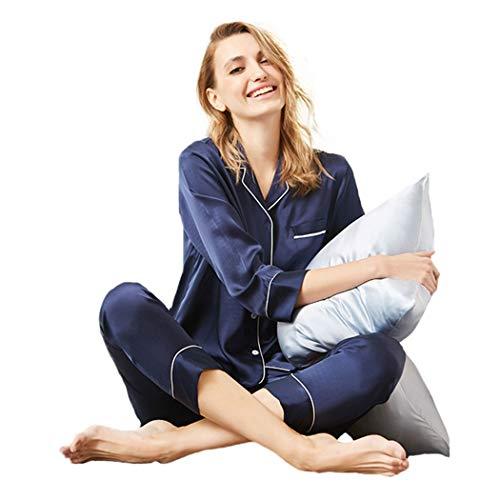 AXIANQIPJS Frauen Silk Solid Color Schlafanzüge Set Mit Knöpfen Kragen Bottoms...