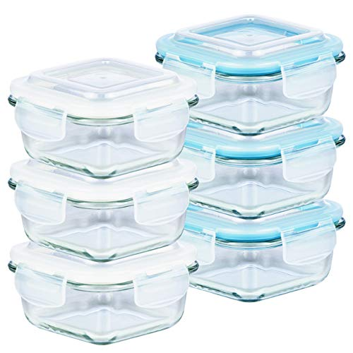 Grizzly Frischhaltedosen Glas 6 Stück Set quadratisch 320 ml Vorratsdosen mit...