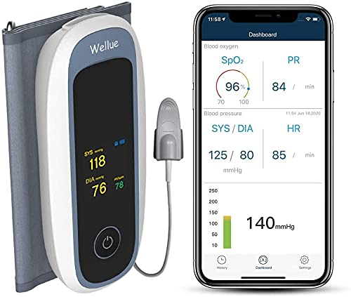 Bluetooth Blutdruckmessgeräte Oberarm mit Blutsauerstoffmonitor, kabellosem...