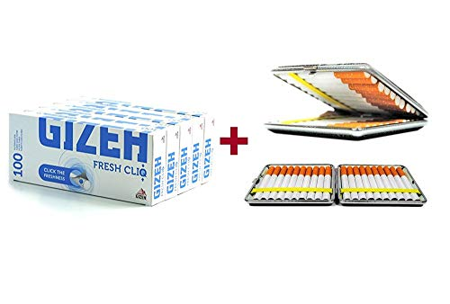 500 Gizeh Fresh cliq Hülsen Mentholkapsel Menthol-Click 5x100 + gratis Etui von...
