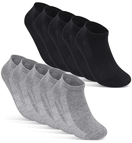 10 Paar Sneaker Socken Herren Damen Schwarz Weiß Grau Baumwolle Mesh 16510...