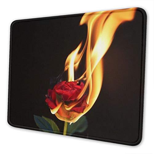 Clero & Mauspads Rose auf Feuer brennende Blume Gaming-Mauspad mit genähtem...