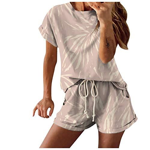 Colorblock Drucken Sportanzug Damen Kurz Trainingsanzug Pyjama Set Mode Tie Dye...