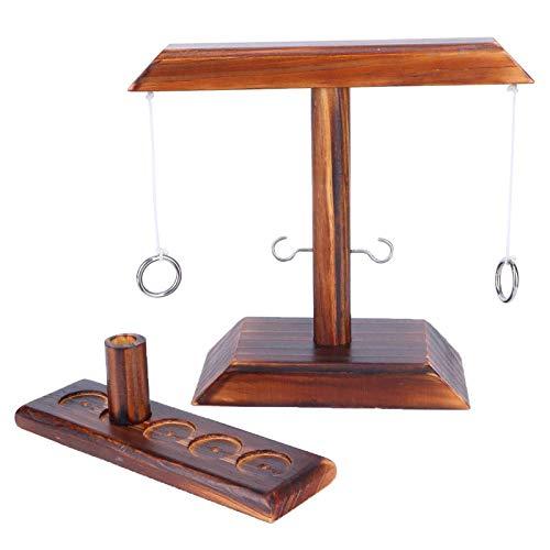 Rings Toss Game, Outdoor Indoor Handmade Holzringe Toss Hooks Spielset für...