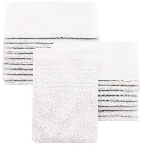 ZOLLNER 20er Set Waschhandschuhe, 16x22 cm, Baumwollmix, 340g/qm, weiß
